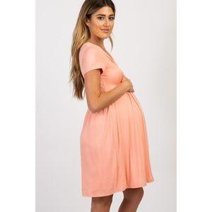 Peach Draped Front Maternity/Nursing Dress